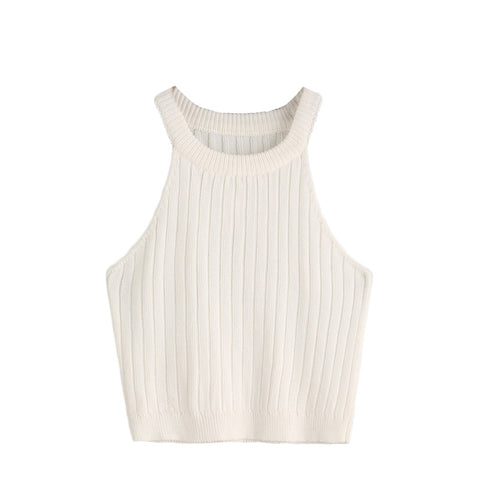 Casual Tops Plain Round Neck Sleeveless Knitted Fitness Crop Tank Top