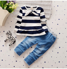 stripe clothes bow tops t shirt jeans leggings pants girls clothing sets