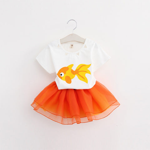 Fish Design T-Shirts+Net Veil Dress 2Pcs Girls Clothes Sets