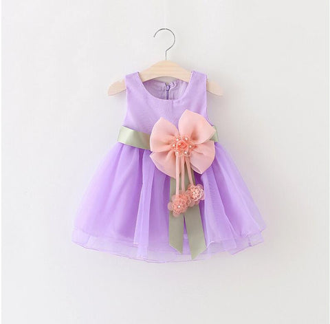 Girls Dress Big Bowknot Infant Party Dres