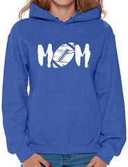 Awkward Styles Women's M-O-M Football Mom Graphic Hoodie Tops White Mother's Day Gift Sports Mom Blue L