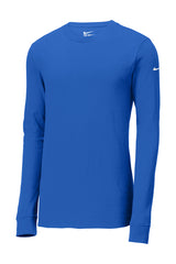 Large Blue Nike Long Sleeve Core Cotton Tee-Football Logo