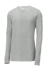 XL Nike Long Sleeve Core Cotton Tee-Heather Grey-Football Logo