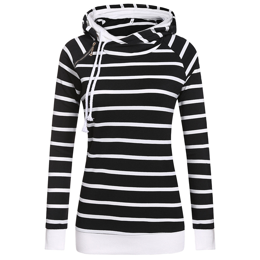 Striped Hooded Long Sleeve Pullover