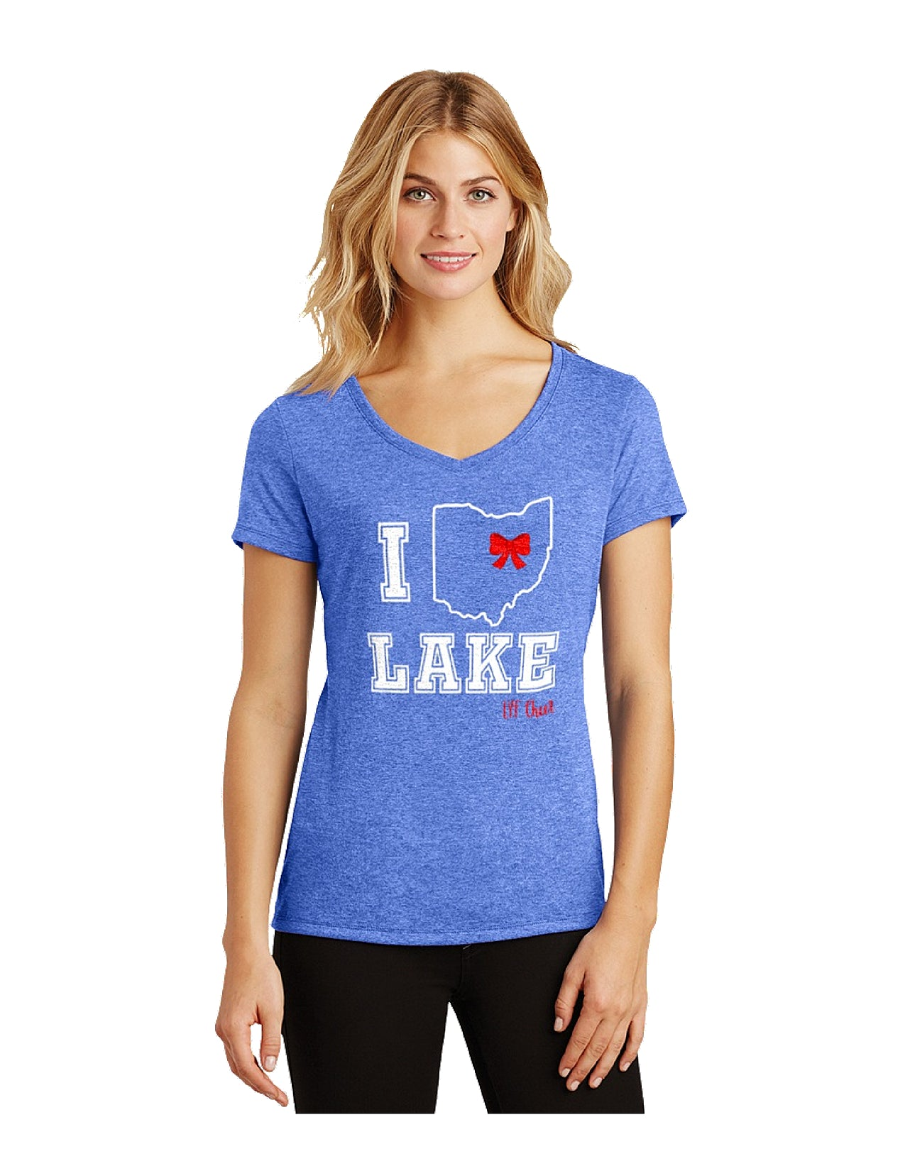 Blue Triblend Women's V-Neck Tee-Cheer Logo