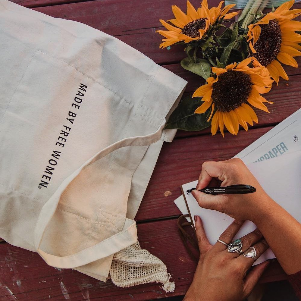 Ethical alternative to Amazon, Simple Switch sells totes like this, made by free women.