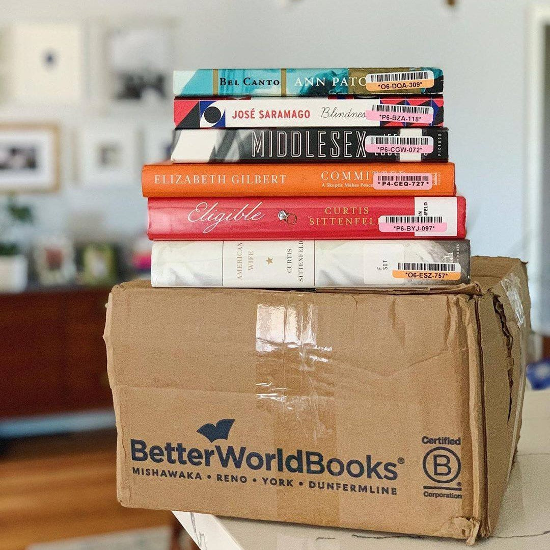 An alternative to buying books from Amazon, is Better World Books, this stack of novels on the company's box is just an example of some of the products you can purchase.
