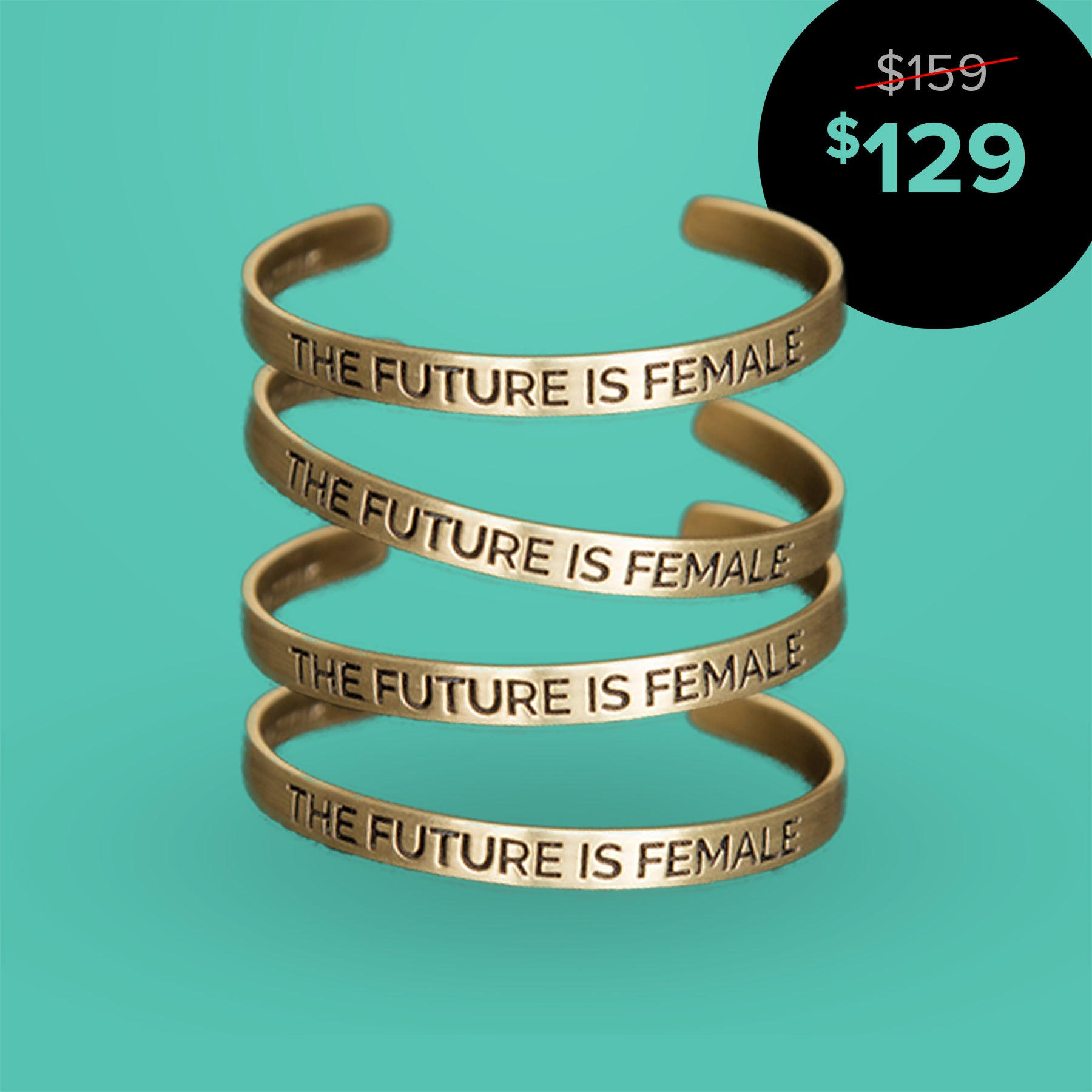 The Future is Female (Brass) - Set of Four