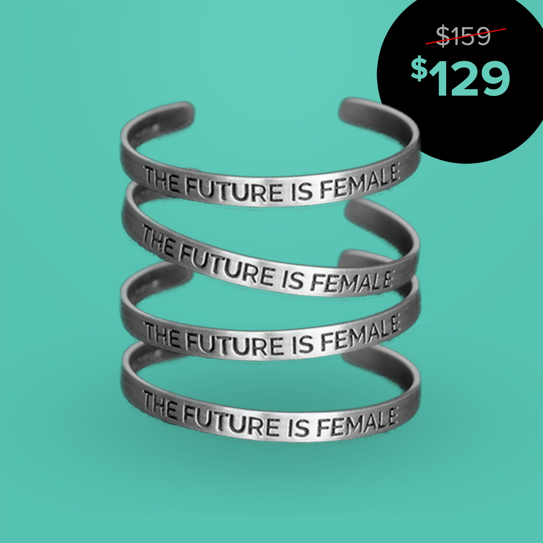 Bird + Stone 'The Future is Female' cuff - Set of Four (Silver)
