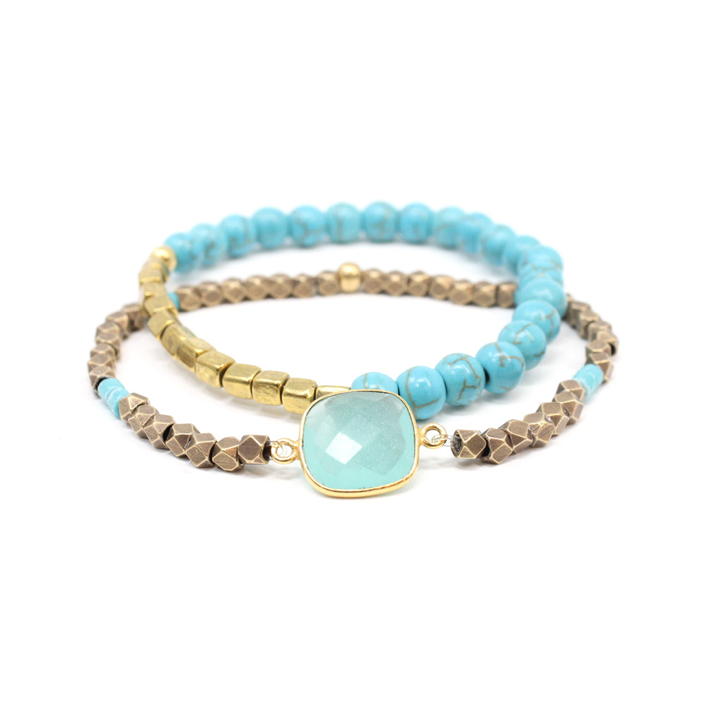 Bird + Stone Cleopatra and Awali Beaded Bracelet Set