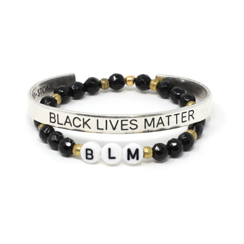 Black Lives Matter Cuff + BLM Bracelet Set