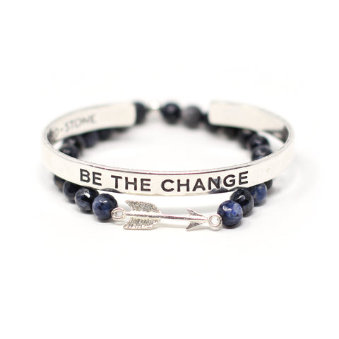 'Be the Change' + Arrow bracelet set
