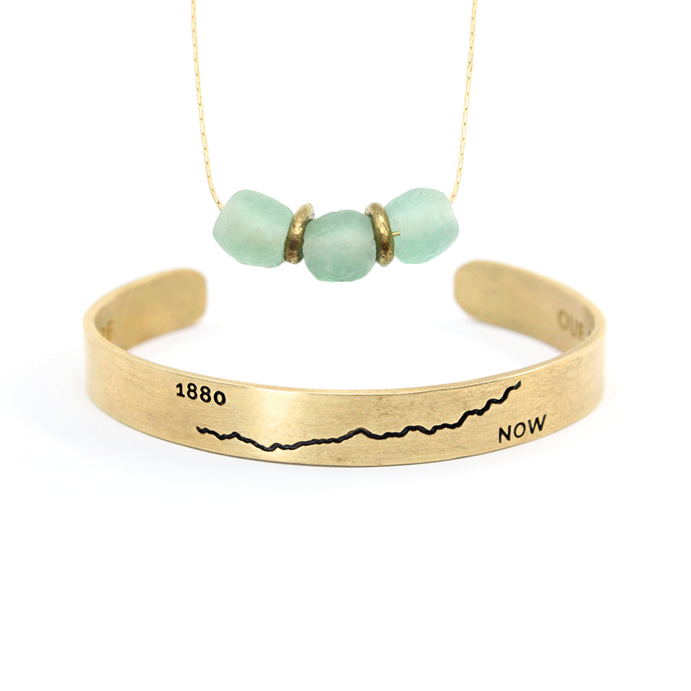 Bird + Stone 'Climate' Cuff and Upcycled Love Necklace Set