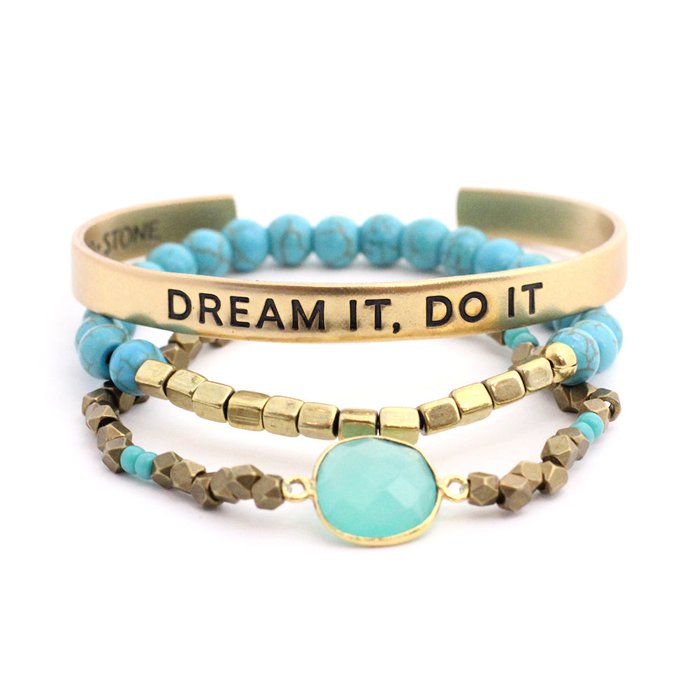 'Dream it, Do it' + Cleopatra + Turquoise Awali Bracelet Set