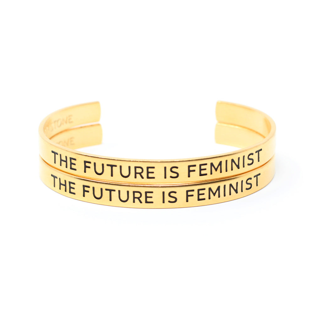 Bird + Stone The Future Is Feminist Gold Cuff Bracelet Set
