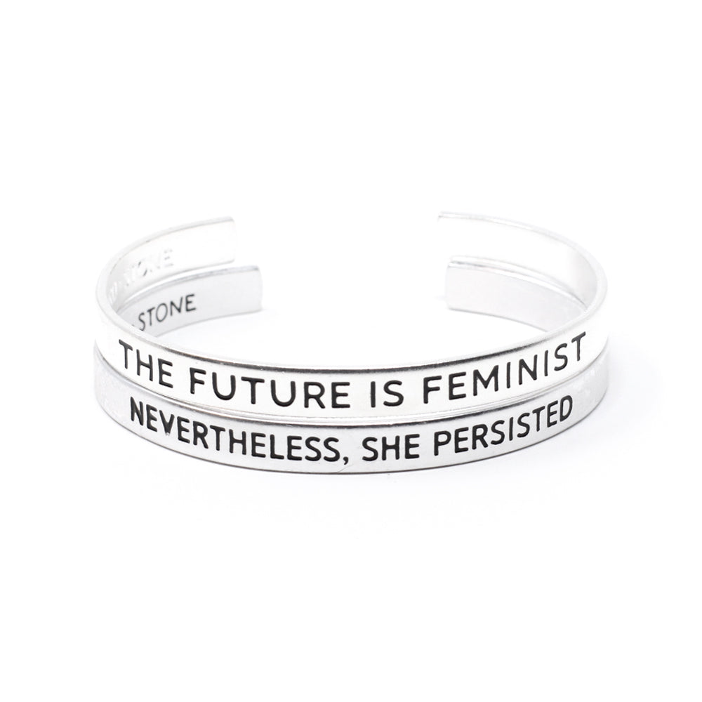 Bird + Stone The Future is Feminist and Nevertheless, She Persisted Cuff Bracelet Set
