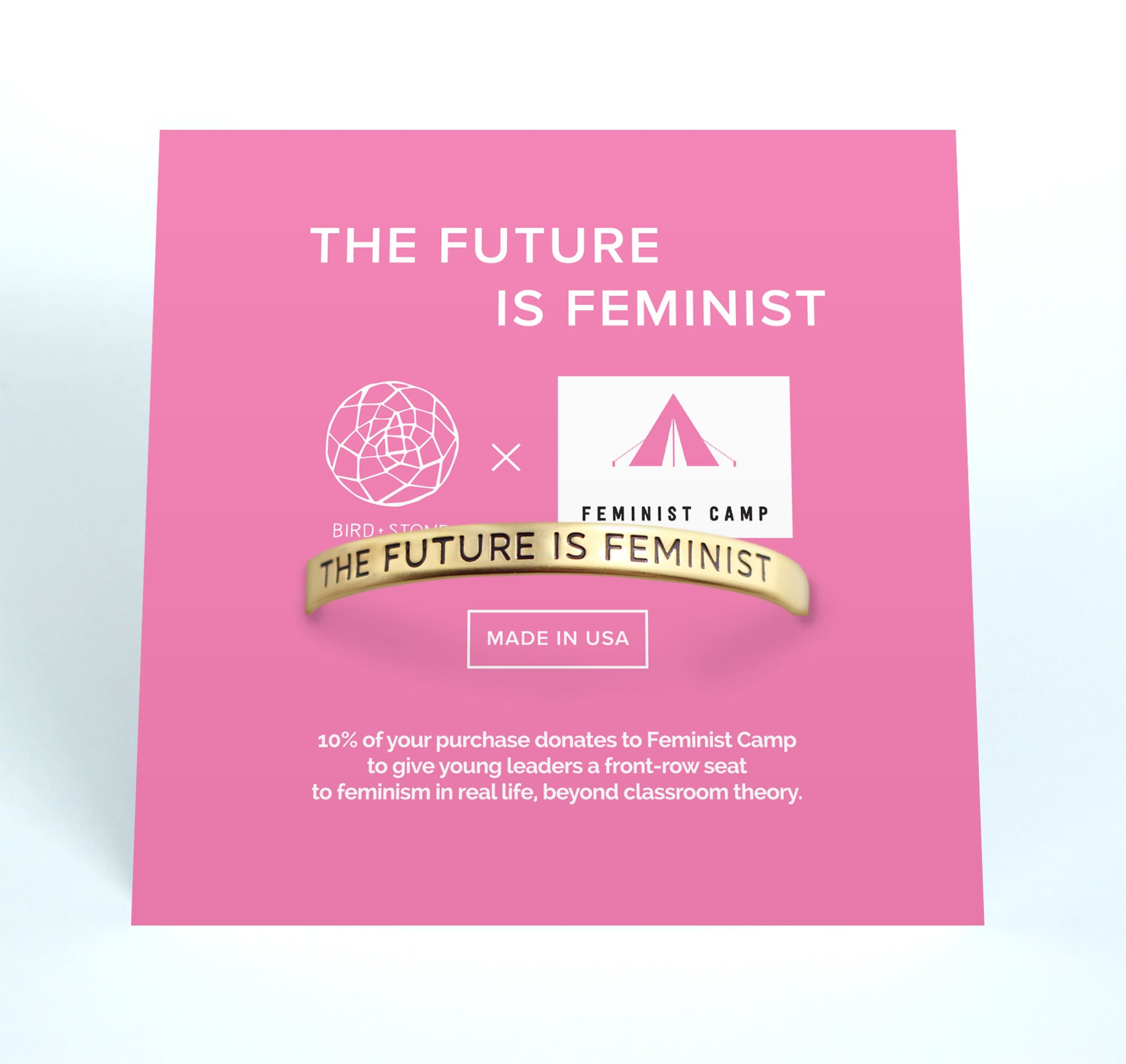 Bird + Stone The Future is Feminist Gold -Plated Cuff Feminist Camp