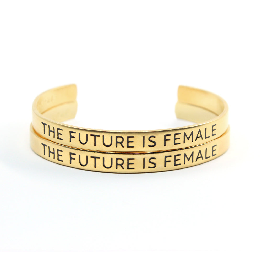 Bird + Stone The Future is Female Gold Cuff Bracelet Set