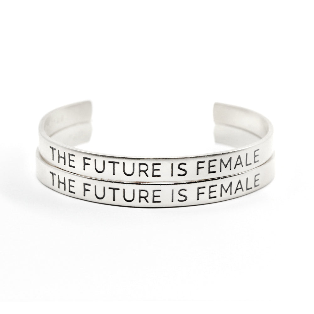 Bird + Stone The Future is Female Silver Cuff Bracelet Set