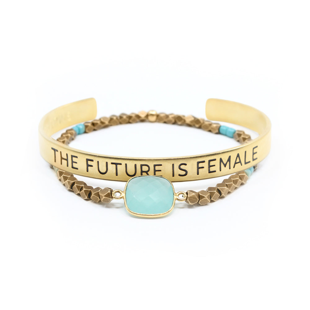 Bird + Stone Gold Future is Female Cuff Bracelet and Gold Cleopatra Beaded Bracelet
