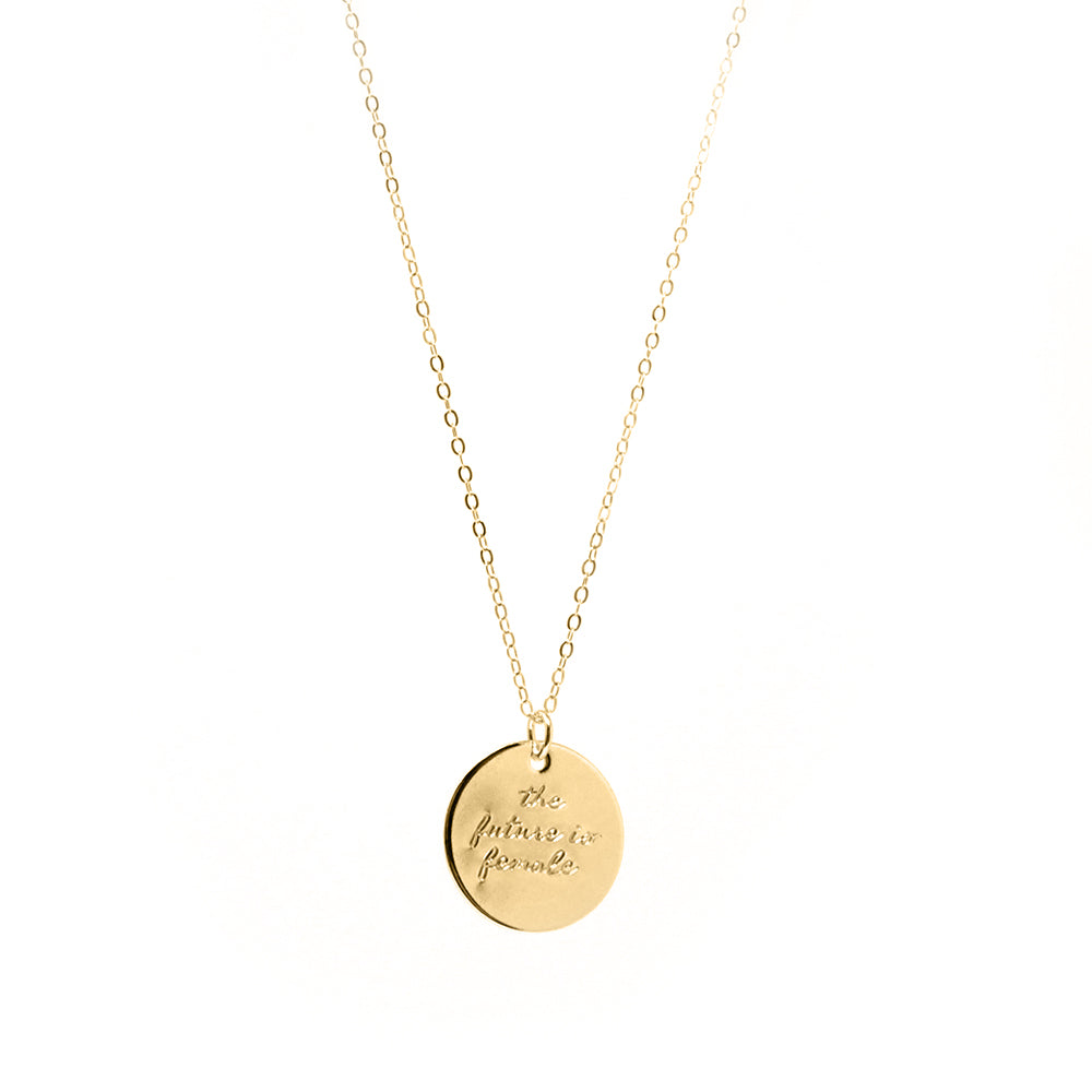 Bird + Stone 'The Future is Female' Necklace in Gold