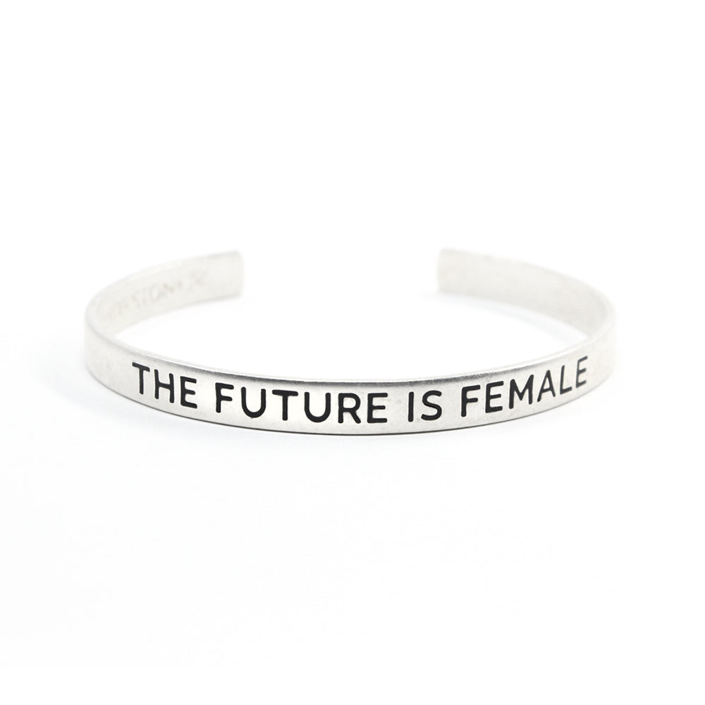 Bird + Stone The Future is Female Silver-Plated Cuff
