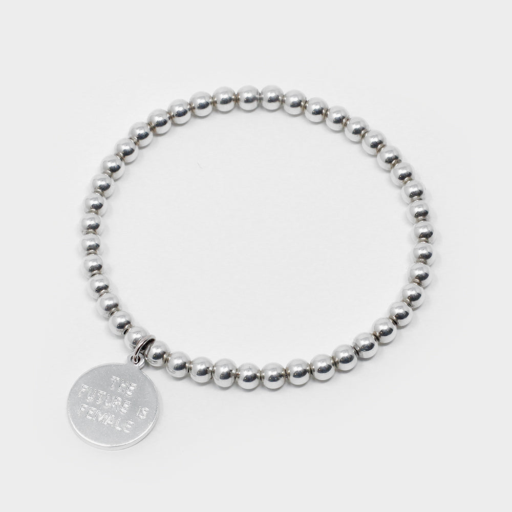 'The Future is Female' - Sterling Silver Beaded Bracelet