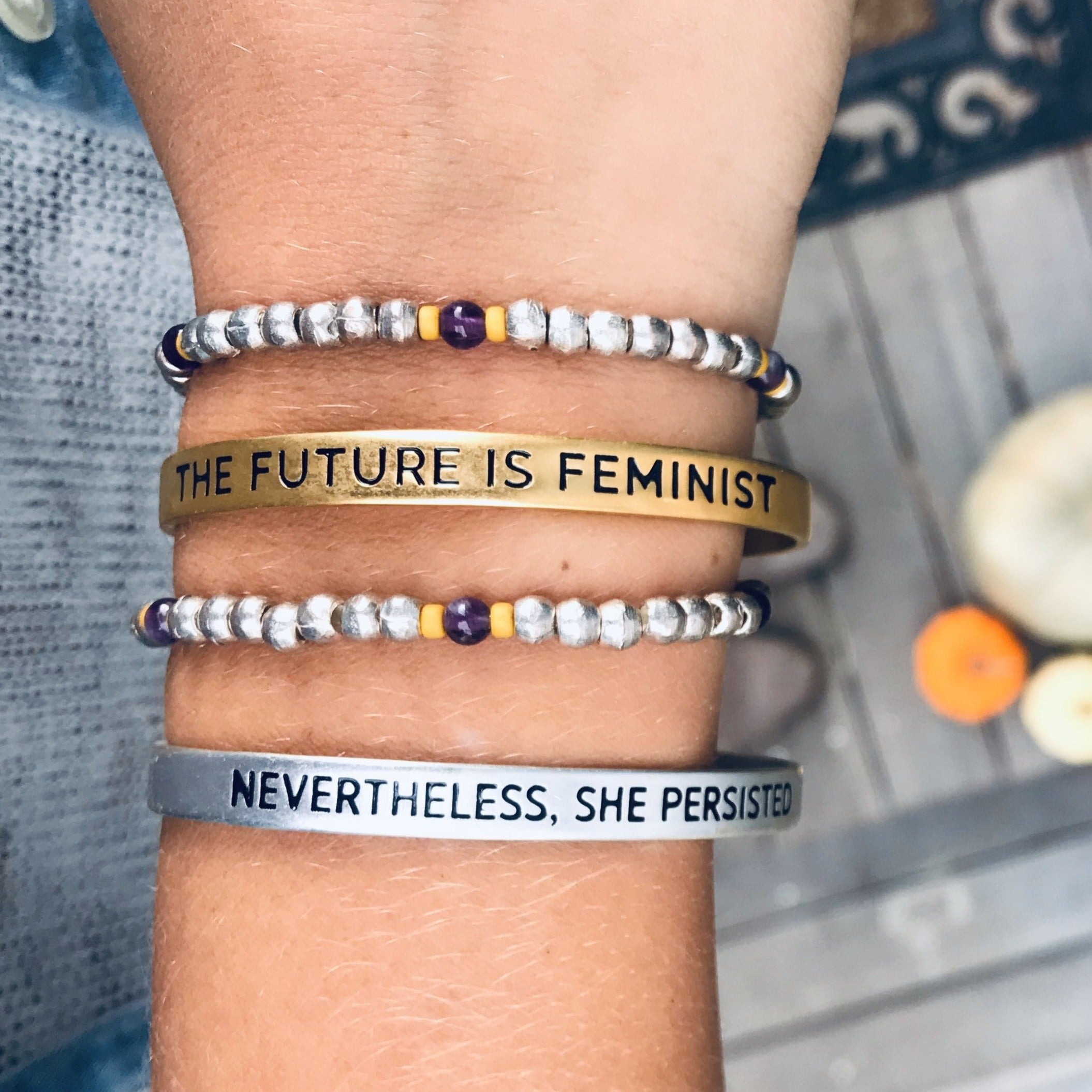 'Nevertheless, She Persisted' + 'Future is Feminist' Cuff Set