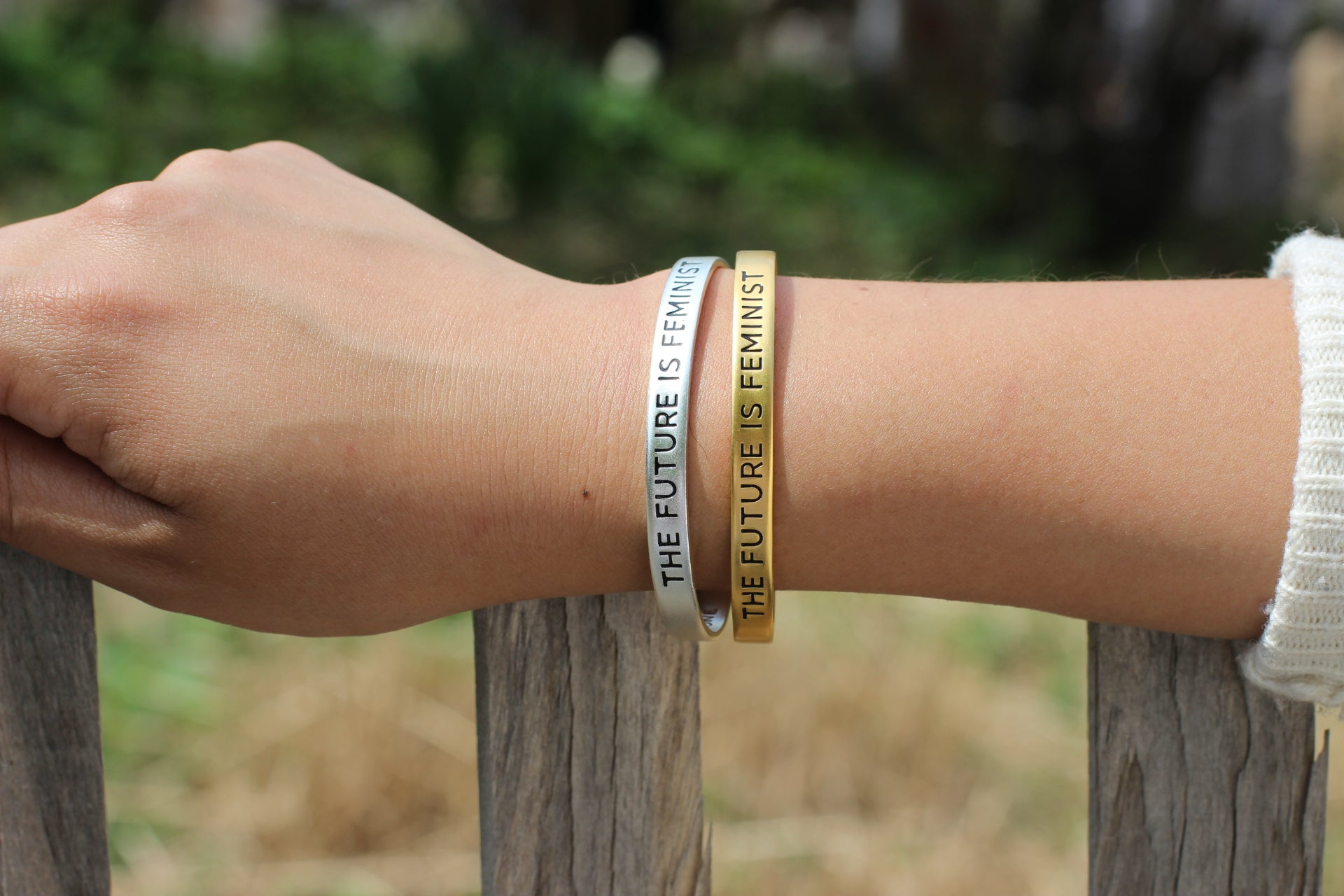 Bird + Stone Gold and Silver Plated The Future is Feminist Cuffs