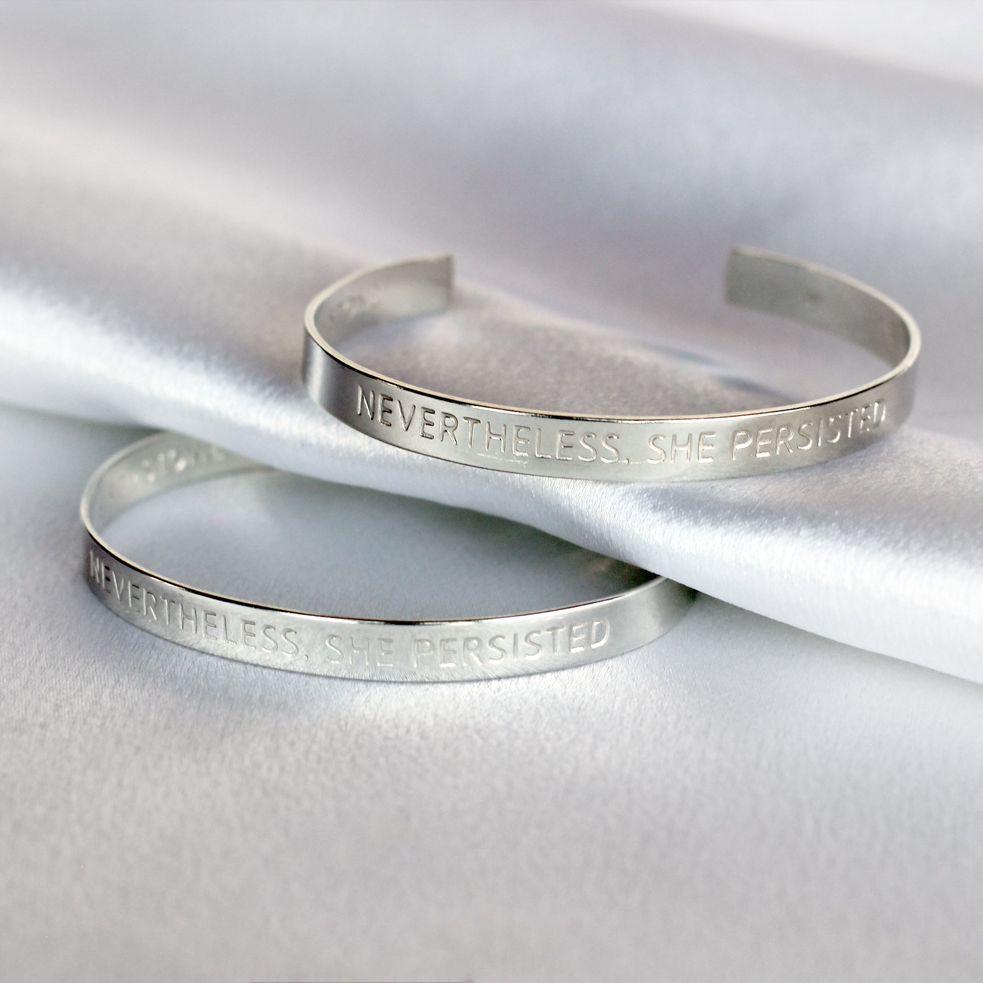 'Nevertheless, She Persisted' - Sterling Silver Cuff