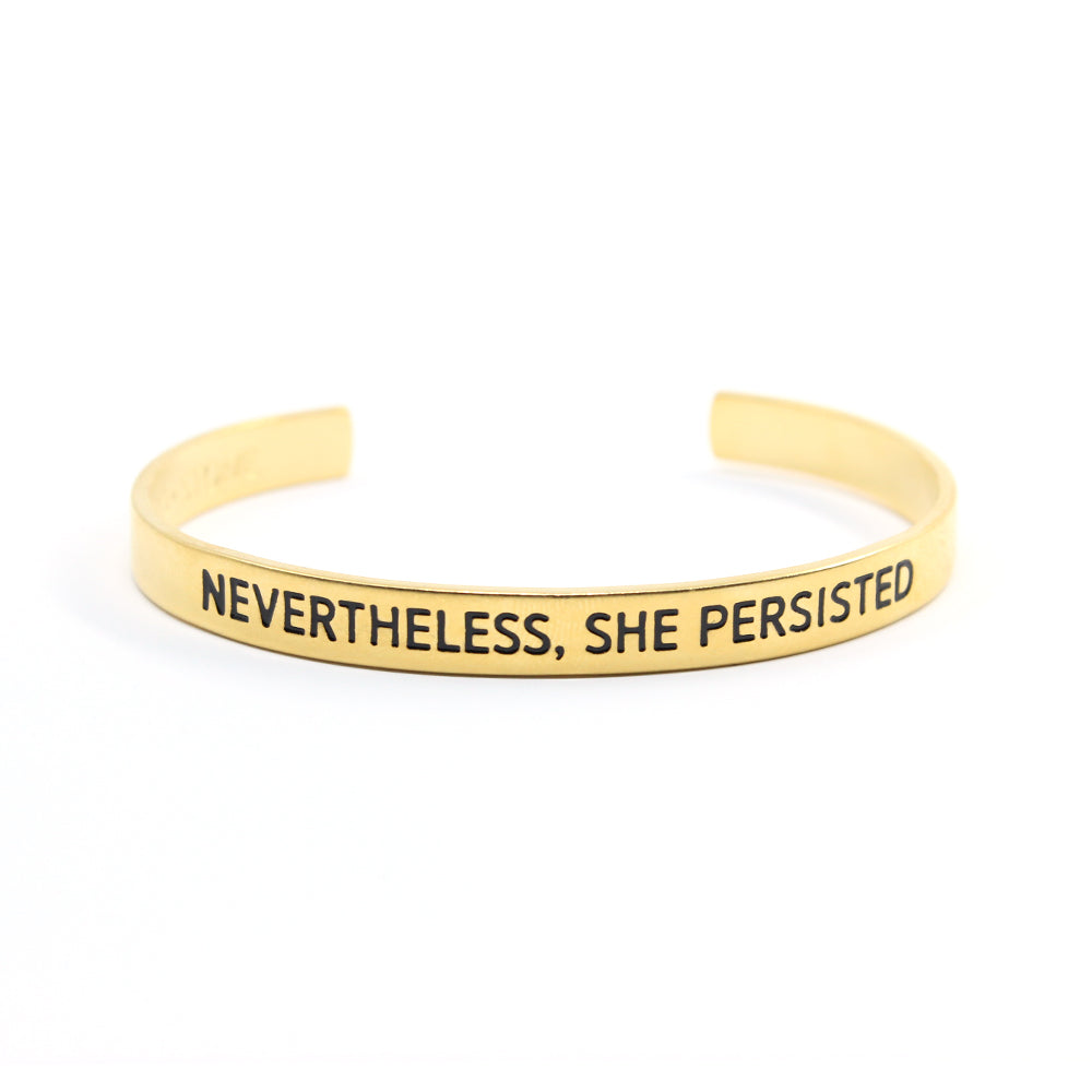 Bird + Stone Nevertheless, She Persisted Gold-Plated Cuff Bracelet