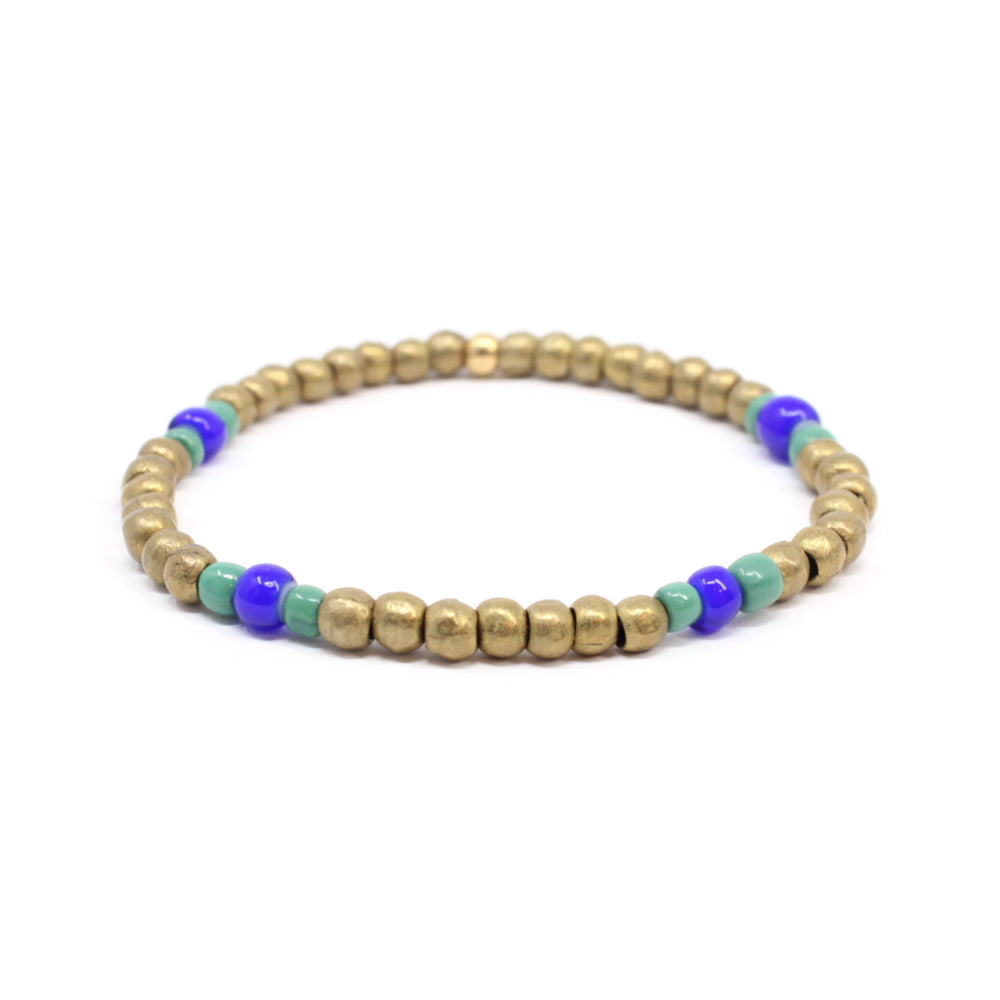 Bird + Stone Ruth Beaded Bracelet in Brass