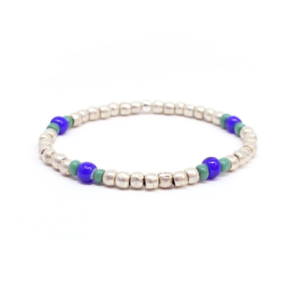 Bird + Stone Ruth Beaded Bracelet in Silver
