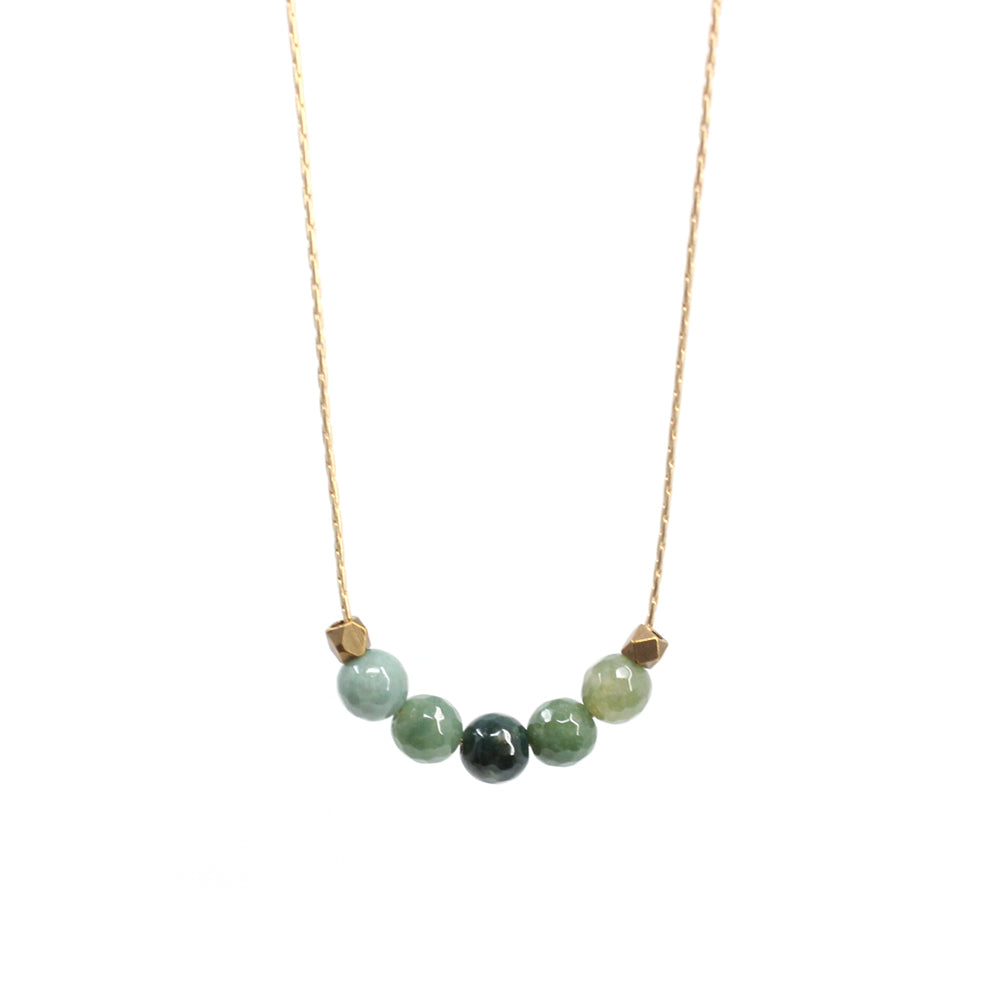 Bird + Stone Seed Beaded Necklace in Green