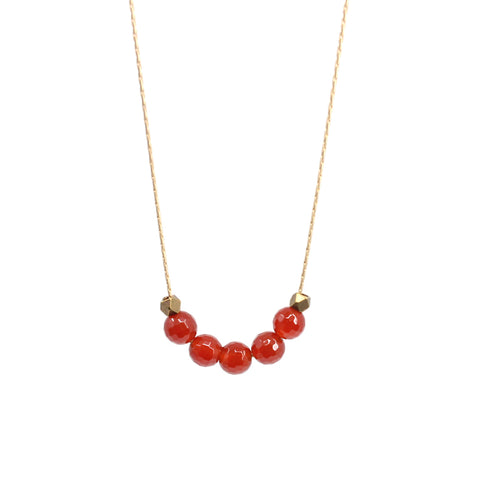 Bird + Stone Seed Beaded Necklace in Red