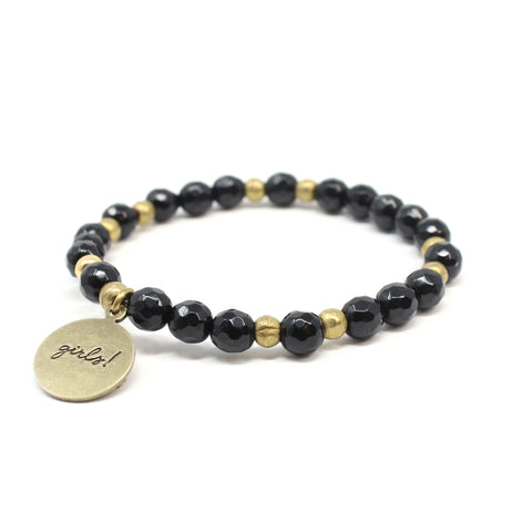 Bird + Stone Who Run The World Beaded Bracelet in Black Back