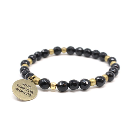 Bird + Stone Who Run The World Beaded Bracelet in Black Front
