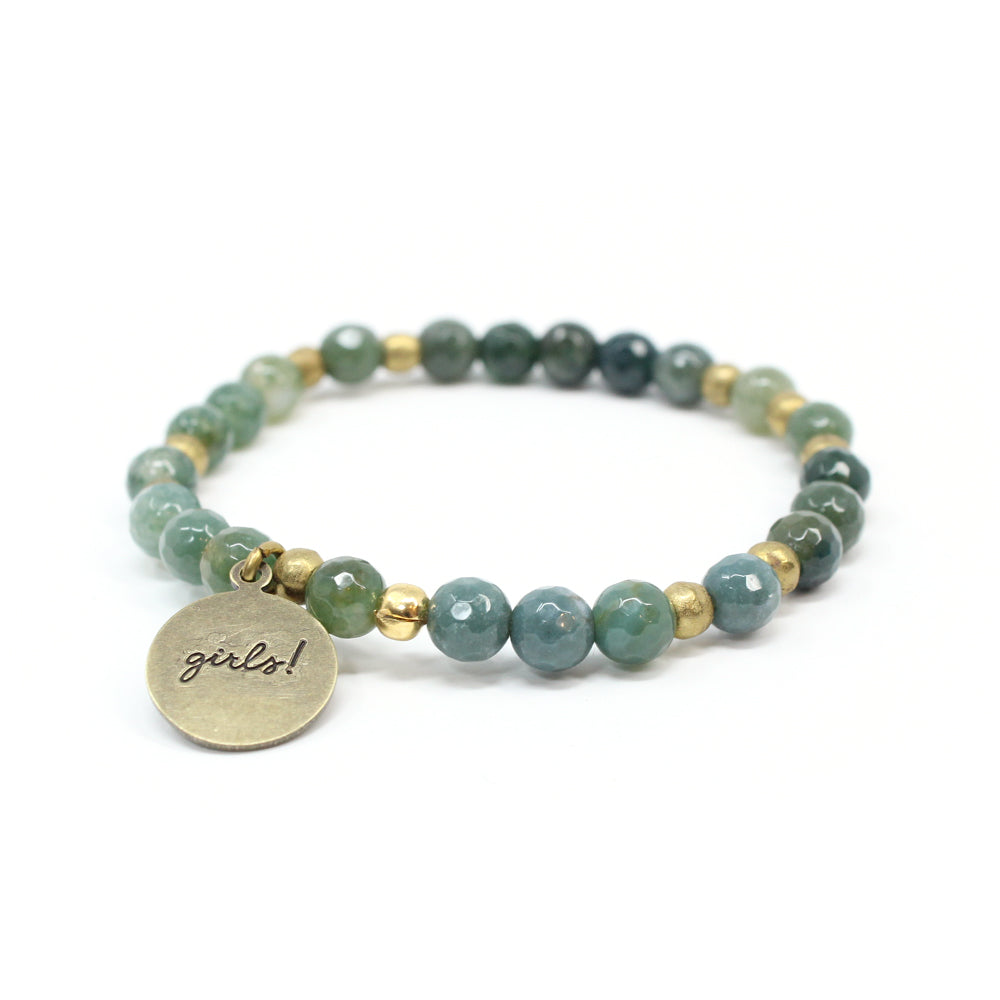 Bird + Stone Who Run The World Beaded Bracelet in Green Back