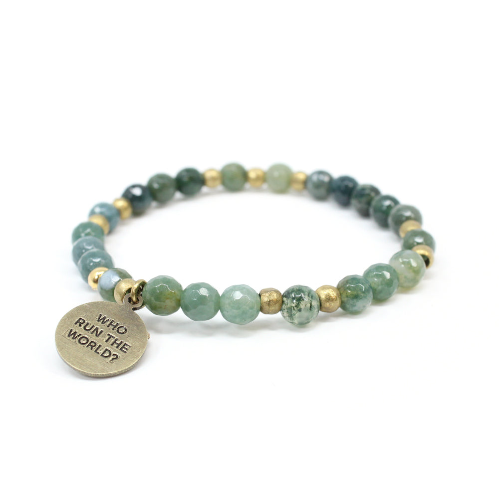 Bird + Stone Who Run The World Beaded Bracelet in Green Front