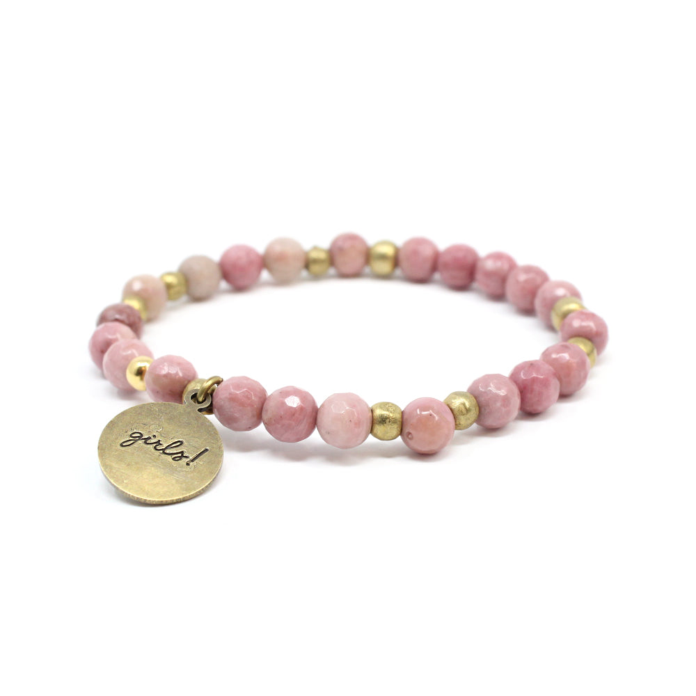 Bird + Stone Who Run The World Beaded Bracelet in Pink Back