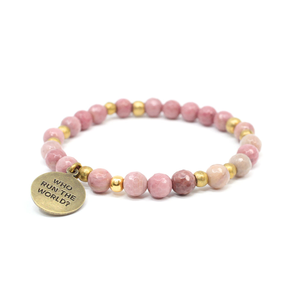 Bird + Stone Who Run The World Beaded Bracelet in Pink Front
