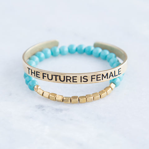 'The Future is Female' + Turquoise Awali Bracelet Set