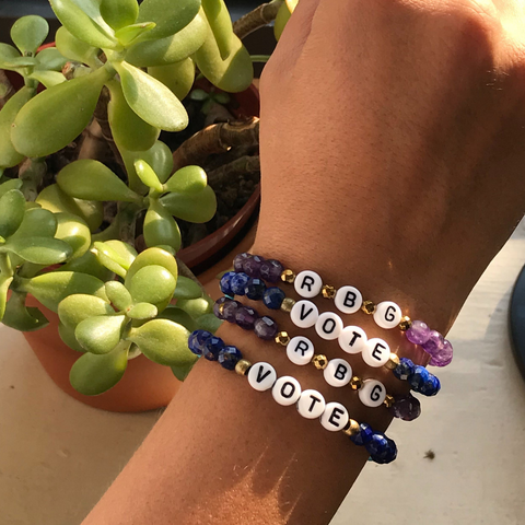 'Vote' and 'RBG' Bracelet Set