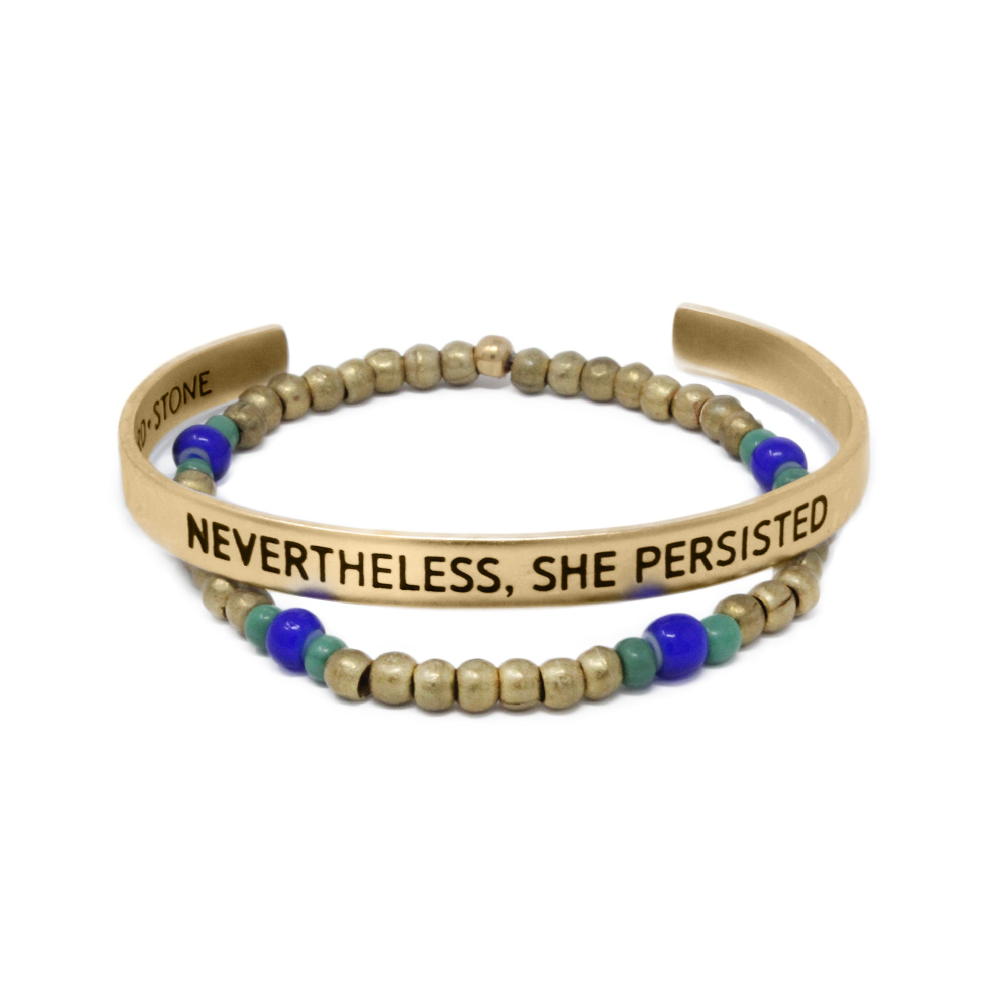 Bird + Stone Nevertheless, She Persisted and Ruth Beaded Bracelet in Gold