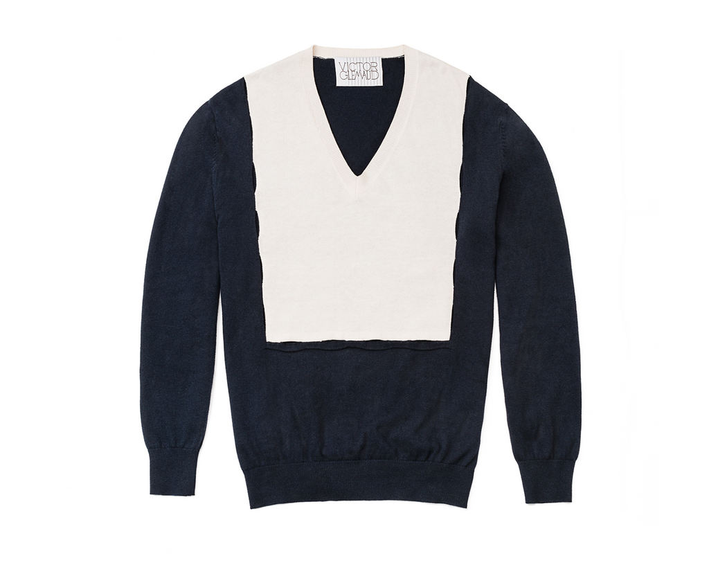 BIB SLASH PULLOVER - NAVY/WHITE