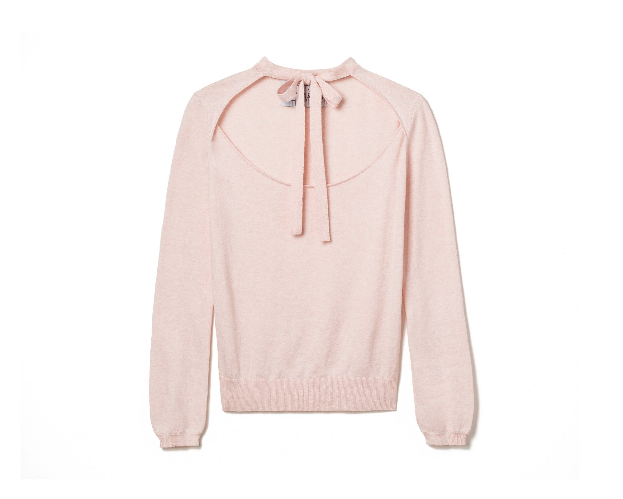 TIE-NECK DÉCOLLETÉ SWEATER – PALE PINK