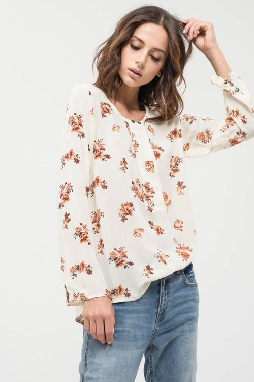 Fall Floral Cream Top