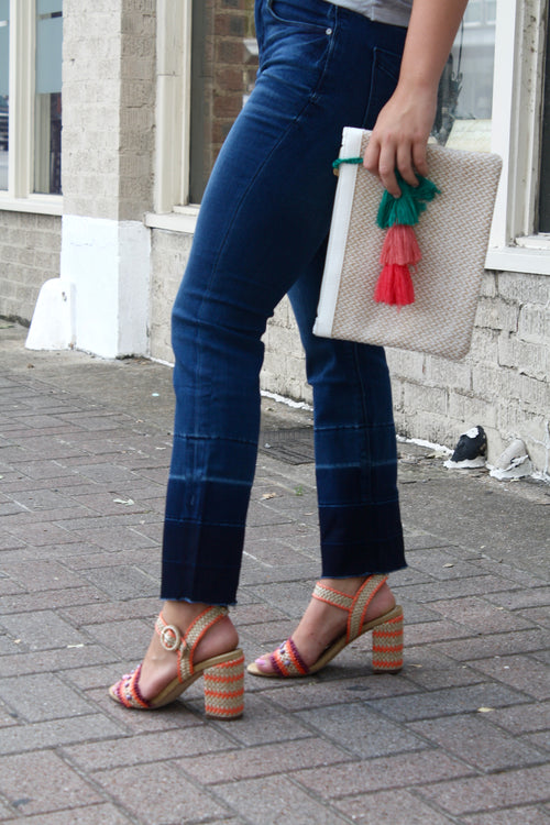 Crop Jeans with Color Block Hem