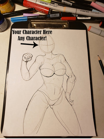 Custom Character Request (Face) in Pose #18-2 Work in Progress Color Original Art