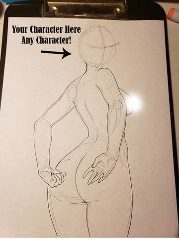 Custom Character Request (Face) in Pose #30 - Work in Progress Color Original Art NDE